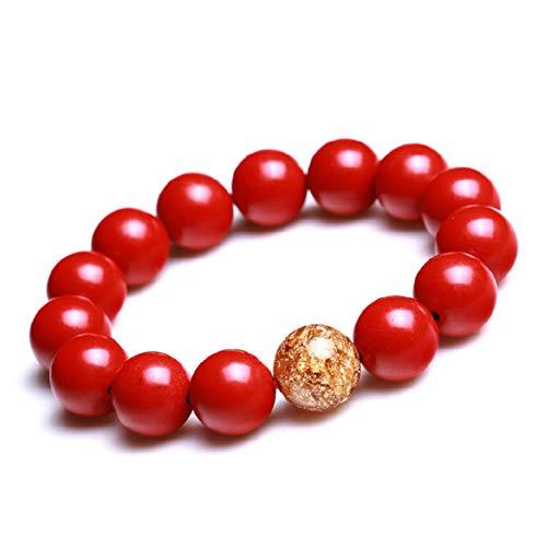 8/10/12/14 Mm Zinnober Goldfolie Perlen Dekoration Armbänder Rote Farbe Kurze Präsentieren Hand Armreifen Armbänder Für Frauen ()