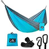 NATUREFUN N-T-0002, NatureFun Ultra-Light Travel Camping Hammock | 300kg Load Capacity,(275 x 140 cm) Breathable,Quick-drying Parachute Nylon | 2 x Premium Carabiners,2 x Nylon Slings Included | For Outdoor Indoor Garden (Sports & Outdoors)