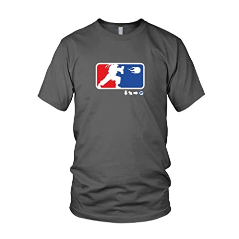 Down Right Punch - Herren T-Shirt, Größe: L, Farbe: grau (Street Fighter Chun Li Kostüm)