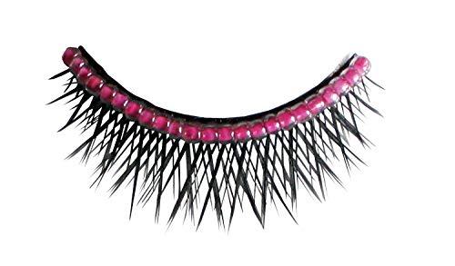 - künstliche Wimpern - Schwarz, gekreuzt, mit Perlenband, Pink ()