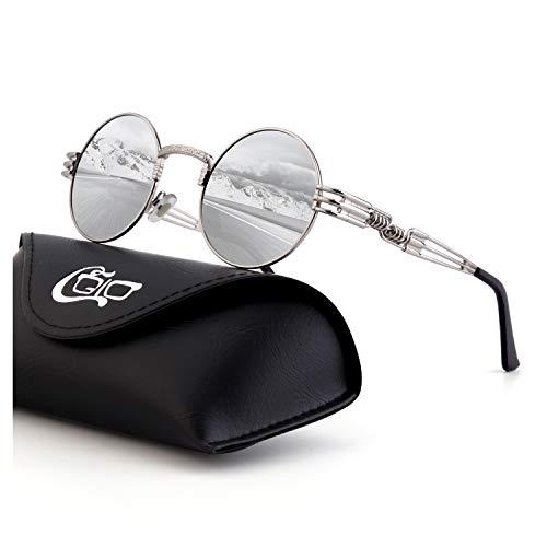 CGID Retro Sonnenbrille im Steampunk Stil, runder Metallrahmen, polarisiert, für Frauen und Männer, E72, B8 Silber Silber, Einheitsgröße
