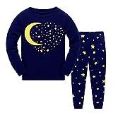 Garsumiss Jungen Schlafanzug Kinder Dinosaurier Pyjamas Sets Kleinkind Pjs Nachtwäsche 2-8 Jahre (104/3 Jahre, Blau/Mond Star)
