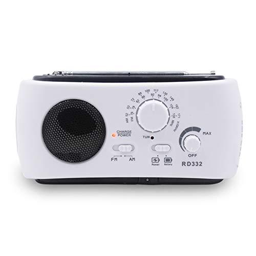 Alextry 1 tragbares Solar-Radio-Handkurbel, betrieben mit Taschenlampe, USB-Ausgang weiß - Kurbel Radio Beste