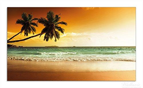 Wallario Herdabdeckplatte / Spritzschutz aus Glas, 1-teilig, 90x52cm, für Ceran- und Induktionsherde, Palmen am Sandstrand bei untergehender Sonne