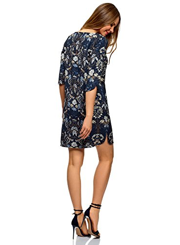 oodji Collection Donna Abito Stampato Dritto Blu (7919F)