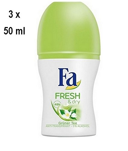 """3 x Fa Deo Roll-on für Frauen """"Fresh & Dry Green Tea"""" - 50 ml"""