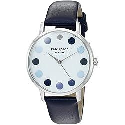 Kate Spade New York Damen-'Metro' Quarz Edelstahl und Leder Casual Uhr, Farbe: Blau (Modell: ksw1173)