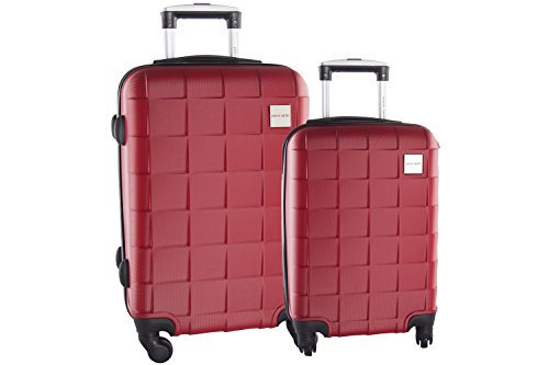 2 Maletas rígidas PIERRE CARDIN rojo cabina para viajes 4 ruedas abs VS87