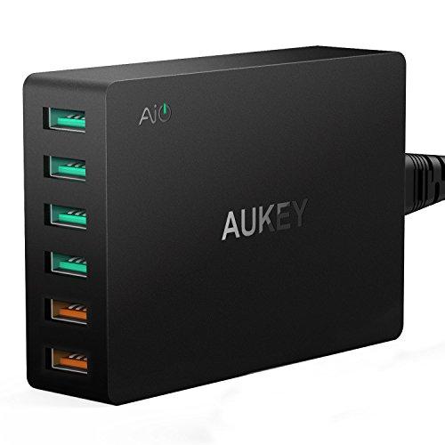 AUKEY Quick Charge 3.0 Cargador USB 60W, 2 Puertos con Tecnología Quick charge 3.0 & 4 Puertos con AiPower para iPhone, Nexus, LG y más, Incluido un Cable Micro USB