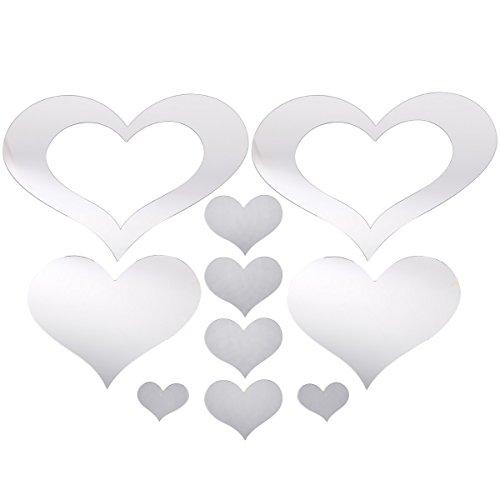 10 Love Heart Decorative Mirror Sticker Self-Adhesive Mosaic Tiles PS Bathroom