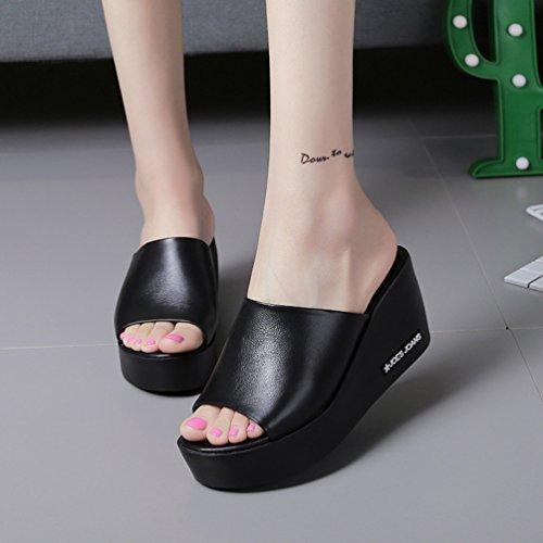 Damen Sandalen Mit Keilabsatz Comfort Offene Pantoletten Schwarz
