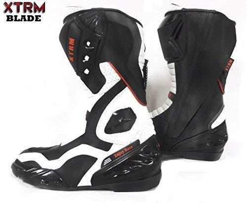 XTRM BLADE Motorrad-Stiefel Rennstiefel Sportstiefel Tourenstiefel Allroundstiefel Motorradschuhe Herren/Damen, Schwarz/Weiß (Schwarz-Weiß,EU 46/12 UK)