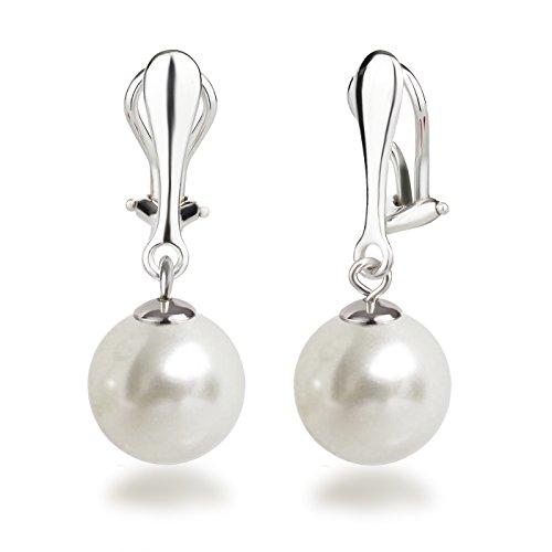 Schöner-SD Perlen Ohrclips Hänger Clip Ohrringe 925 Silber mit runden Perlen 12mm groß weiß