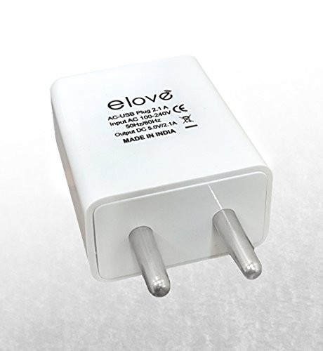 Wall Charger , Dual Port USB Charger Adapter, elove 2 Port USB Charger with 2.1 Amp Auto Detect Technology Power Supply - [Ultra Powerful] [Compact] [Lightweight] [Travel Ready] [Multiport] USB Charger Adapter for apple iPhone/iPod/iPad/Samsung/Lenovo/Nexus/LG/Motorola/HTC and all Android & IOS Devices - White  available at amazon for Rs.199