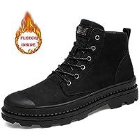 Lingqiqi Bota de Hombre Top High Tobillo Botas de algodón Calor Zapatos de Trabajo Simples (Convencional Opcional) Invierno (Color : Wark Black, tamaño : 39 EU)