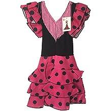 Sevillana Flamenco Vestido Rosa y Negro Puntos (Kids)