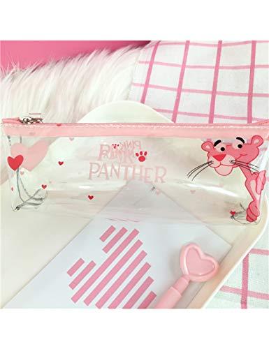 ZLJNN Kawaii Federmäppchen Halloween Transparent Schön Pink Panther Muster Schulmaterial Student Schreibwaren Weihnachtsgeschenk,7