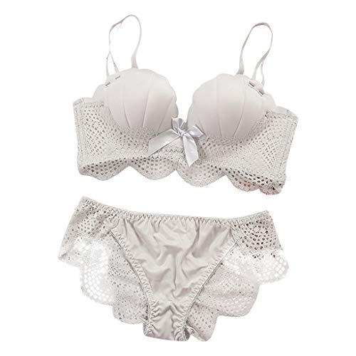 TOPKEAL Damen Sport-BH Frauen Sexy Lace Bow BH für Frauen Push Up BH Dessous Bralette verdicken Unterwäsche Set -
