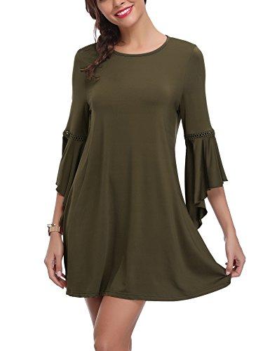 Abollria Damen Casual Kleid A-Line Kleider mit Asymmetrisch Ärmeln Fließendes Stretchkleider für Herbst und Winter (T-shirt Band Kleid)