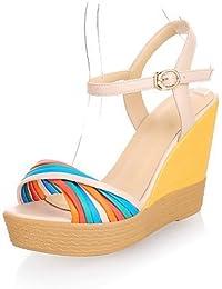 Ei&iLI Moda cuero cuña sandalias de tacón alto con los zapatos de fiesta / noche conjuntas Split (más colores) , white-38 , white-38