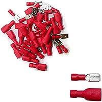 100x Enchufables 50x y 50x Macho Hembra Plano Aislados - Eléctrico Terminales Rojo - Conector de Cables - Franqueo libre!