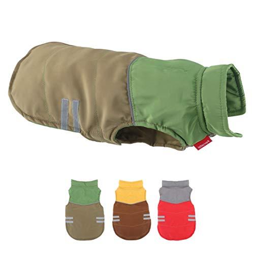 Idepet Hund Katze Winter Herbst Mantel Warme Haustierkleidung Baumwoll-Hundejacke Draussen Pullover Hund Overall für Kleine Hunde Welpen Schnauzer Teddy Pudel Chihuahua (M, Green)