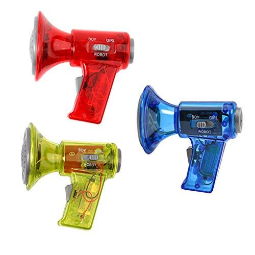 FLAMEER 3pcs Mini Sprachwechsler Megaphon Lautsprecher Voice Changer, Geschenk für Geburtstag, Gelb / Blau / Rot