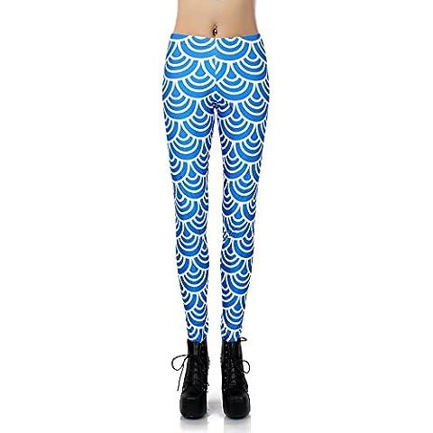 Hot slim digitale stampa blu pantaloni leggings collant onde elastiche