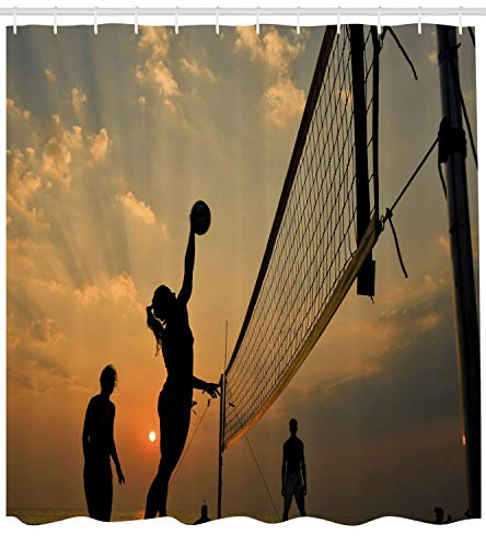 ZKHTO Volleyball Shower Curtain, Beach Sports at