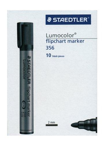 Staedtler Lumocolor 356-9 – Rotulador (10 unidades, tinta color negro, punta cónica)