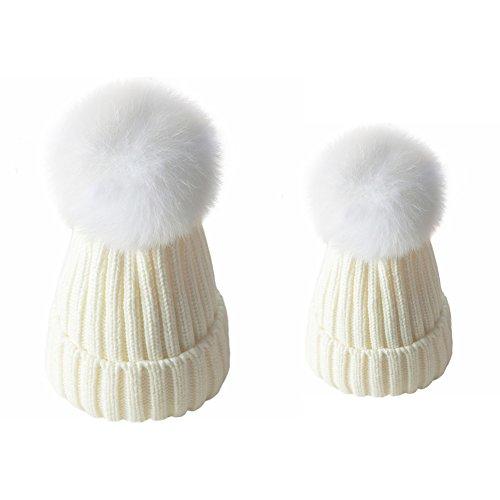 ZLFT Eltern-Kind Hut Wärmer Mutter & Baby Tochter / Sohn Winter warme Strickmütze Familie Häkeln Beanie Ski Cap (Weiss) (Soft-baseball Weiß)