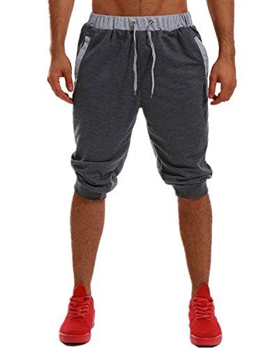 MODCHOK Herren Kurze Jogging-Hose Sweat-Shorts Fitnesshose Pants Basic Dunkelgrau XL