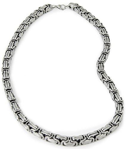 Elemente Rapper Massiv Schwer Halskette Accessoires Glieder-Kette Gangster Silver-Chain PIMP Proll Metall Kostüm (Gangster-elemente)