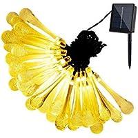 CDKJ Gotas de Agua 30 guirnaldas de luz llevada Solar Hada 8 Modos | Fiesta de