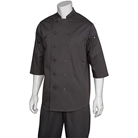 Chef obras S100-BLK 3/4 colorfulbags Chef camisa, negro, talla L, flores, césped, Mantenimiento
