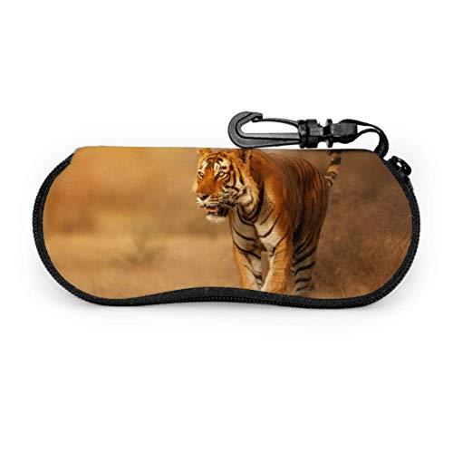 Great Tiger Männlich Natur Habitat Tiger Reißverschluss Brillenetui Für Kinder Weicher Sonnenbrillenetui Für Männer Leichter Tragbarer Neopren Reißverschluss Weicher Etui Dünner Etui Für Brillen