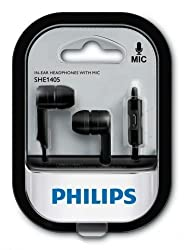 Philips SHE1405BK/94 In-Ear Headphone Headset With Mic - White