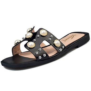 zhENfu donna Appartamenti Comfort estivo PU Casual tacco piatto beige perla nera bianca a piedi Black