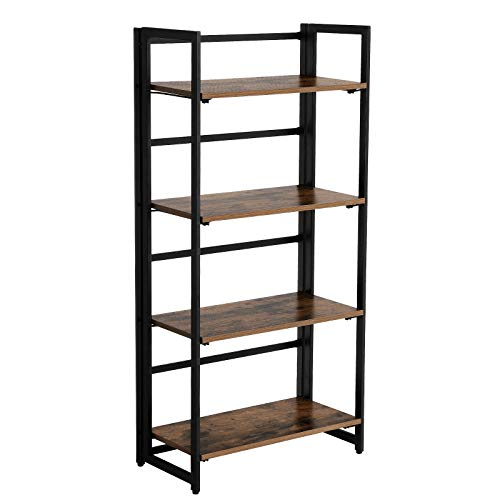 Diseños inteligentes Con un bastidor de diseño plegable, VASAGLE estantería de almacenaje se puede armar rápidamente en dos pasos. Los inquilinos pueden tener su propio estante y llevárselo al mudarse, ya que el almacenamiento y transporte de muebles...