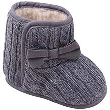 Zapatos Bebe Niña Invierno Fossen Recién Nacido Tejer Botas con Arco Antideslizante Suela Suave Primeros Pasos