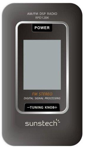Sunstech RPD12BK - Radio de bolsillo digital AM/FM con reloj, negro