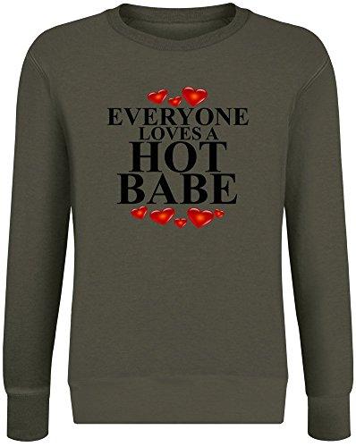 Babe Sweatshirt (Jeder liebt EIN heißes Baby - Everyone Loves A Hot Babe Sweatshirt Jumper Pullover for Men & Women Soft Cotton & Polyester Blend Unisex Clothing XX-Large)