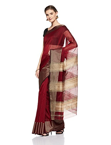 Gocoop Silk Saree With Blouse Piece (GCHANSCSAA0197_Maroon_One Size)