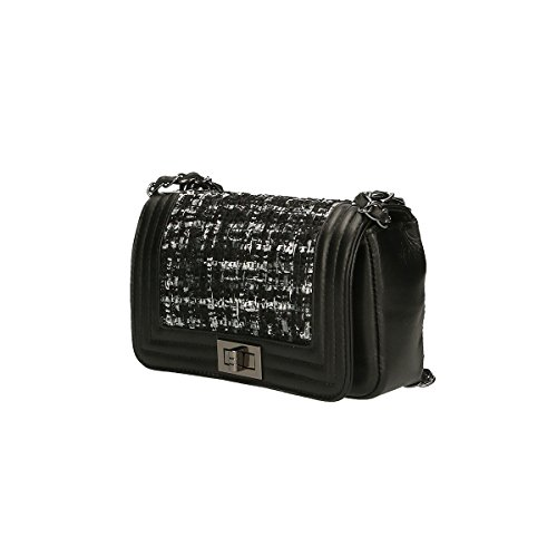 Chicca Borse Borsa a tracolla in pelle 20x13x8 100% Genuine Leather Nero