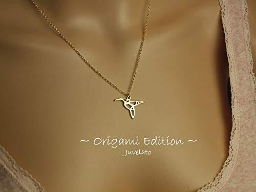 Kette Origami Kolibri Vogel Anhänger golden Juvelato