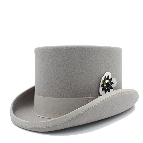SHANGGUAN 4 Gloss Steampunk Fedora Top Hat Mit Technischem Leder Blume Für Frauen (Farbe : 3, Größe : 61 cm) -