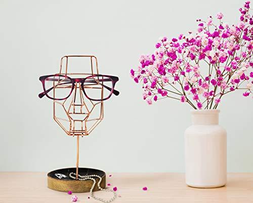 Storeindya Geschenke Handgefertigter Brillenhalter Brille skurrile Gesichtsskulptur Drahtmaske Ausstellungs Stand Halter mit Ablagefach (Metallkollektion - Kupfer) Spectacle Holder