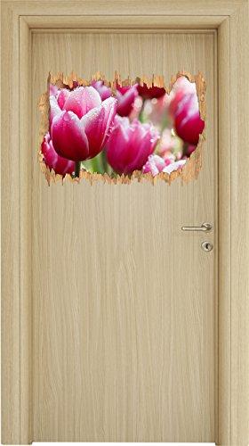 Klare Saubere Duft (Pinke Tulpen mit Morgentau Holzdurchbruch im 3D-Look , Wand- oder Türaufkleber Format: 62x42cm, Wandsticker, Wandtattoo, Wanddekoration)