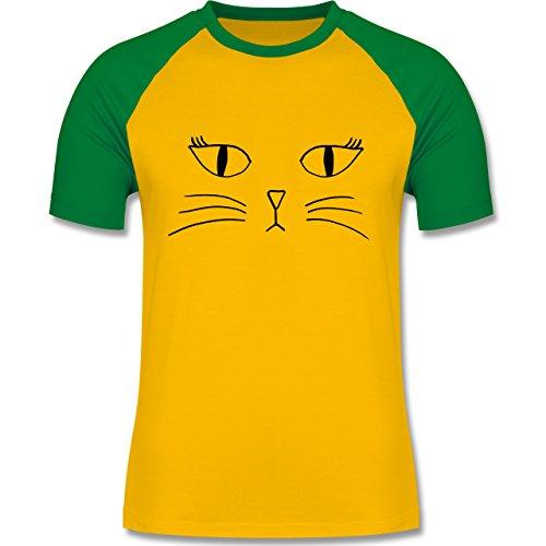 Statement Shirts - Katze Gesicht - zweifarbiges Baseballshirt für Männer Gelb/Grün
