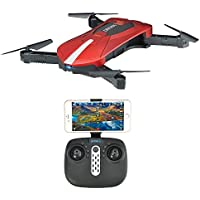 JD-018 Selfie Foldable RC Drone with Camera Live Transmission Wifi FPV APP Control Hover Auto Hover G-Sensor 3D Flip Headless Mode Quadrocopter for all Level Pilots, 1 Battery, Remote Control, Red / Black - Compare prices on radiocontrollers.eu